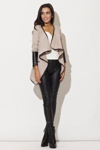 Trimmed Waterfall Beige Jacket with Fitted Leather Cuffs