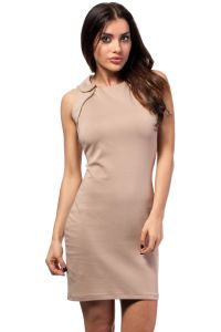 Cappuccino Doll Collar Shift Dress with Gold Zippers