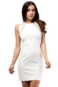 Off White Doll Collar Shift Dress with Gold Zippers