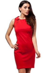 Red Doll Collar Shift Dress with Gold Zippers