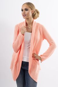 Apricot Shawl Collar Ladies Cardigan with Eyelet Knit Pattern