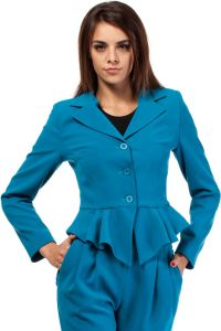 Turquoise Peacock Collar Breasted Blazer with Peplum Hem