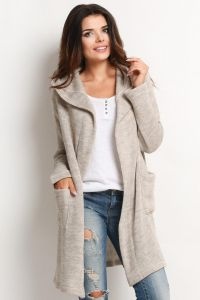 Beige Hooded Cardigan with Side Pockets