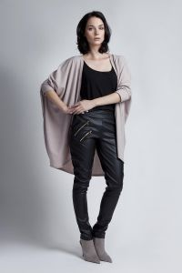 Batwing Beige Cardigan With 3/4 Sleeves