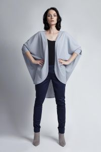 Batwing Grey Cardigan With 3/4 Sleeves