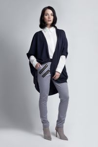 Batwing Navy Blue Cardigan With 3/4 Sleeves