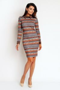 Minimalist Boho Print Dress With Brown Collar