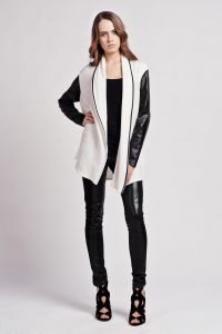 Stylish Open Monochrome Sweater With Leather Sleeves