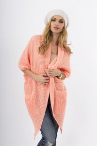 Apricot Lace-Knit Long Sweater with Side Pockets