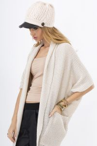 Beige Lace-Knit Long Sweater with Side Pockets