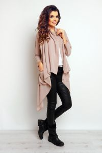 Beige Cape with waterfall neckline