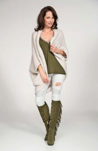Beige cardigan cape with wide shoulders