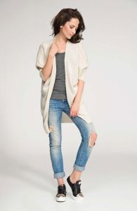 Beige front open sweater with batwing sleeves