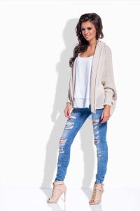 Beige front open sweater with fold over neckline